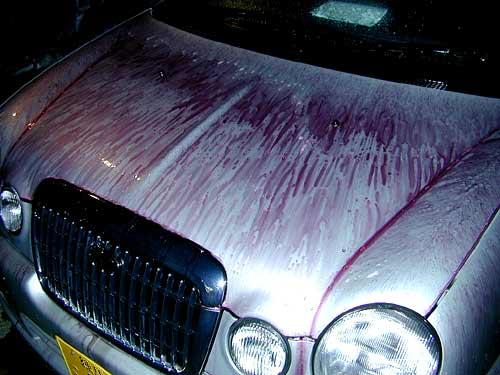 これは幹線道路沿いに駐車が多い車の鉄粉画像。赤くなっているのが鉄粉です。