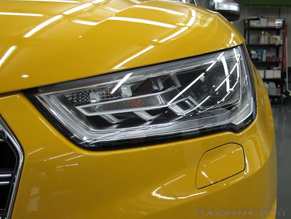 アウディ・S1にガラスコーティング施工、ヘッドライト画像
