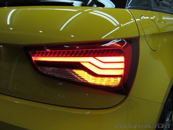 アウディ・S1にガラスコーティング施工、リアコンビネーションライト画像