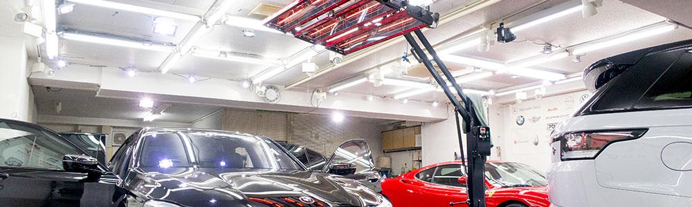 施工環境はふんだんに使った照明と最新コーティング液剤と徹底した下地処理技術により完成します。