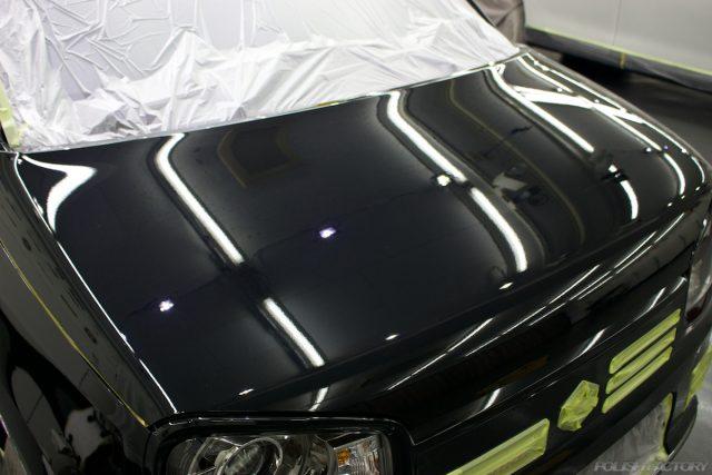 ガラスコーティングで入庫中のスズキアルトワークス新車のマスキング画像