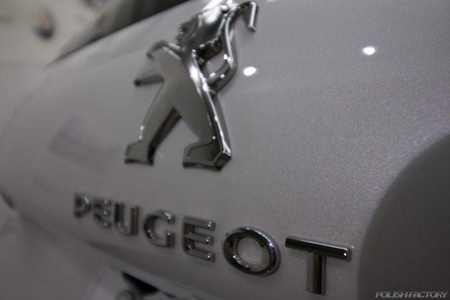 ガラスコーティング施工で入庫中、新車プジョー2008のロゴマーク画像