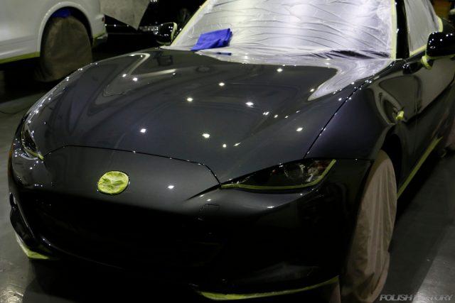 マツダロードスター、車のコーティング施工画像|マスキング画像