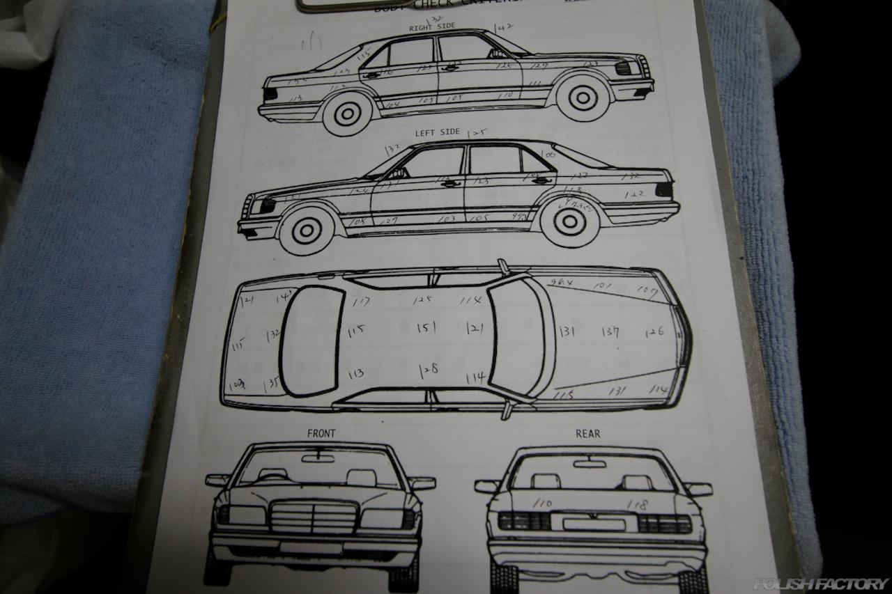 BMW330eのガラスコーティングで入庫中の塗装膜圧などの記入後のカルテ画像