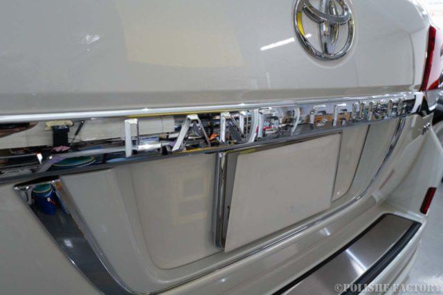 トヨタランドクルーザー200ZX磨きコーティング時のリアハッチ画像