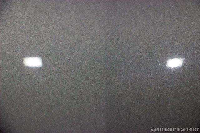 小山薫堂さんの愛車、MercedesBenz E63 AMGステーションワゴンのボンネット磨いた部分と傷が残っている画像