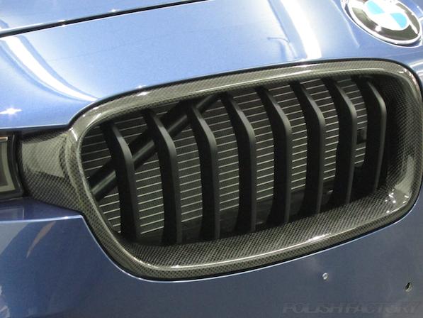 新車のBMWアルピナにポリッシュファクトリーの最強コーティング施工画像、キドニーグリル、カーボン