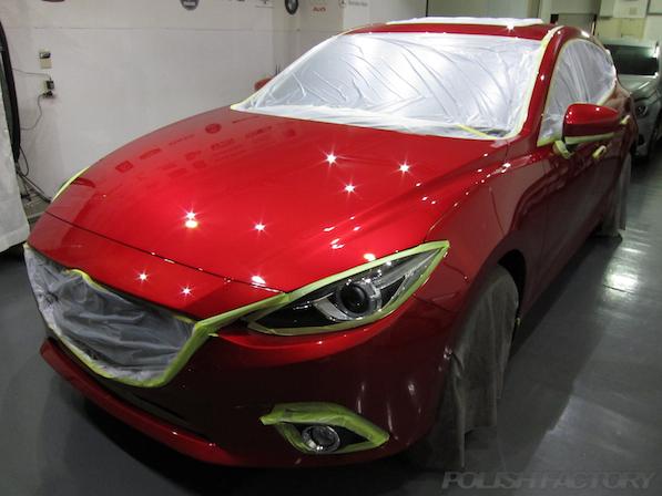アクセラの新車の磨きコーティング画像