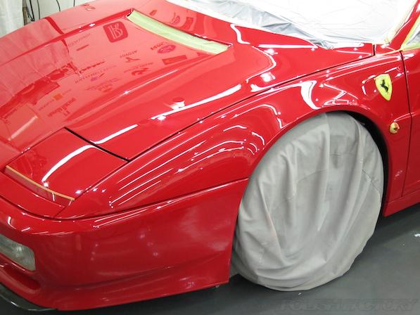 フェラーリFerrari512TRにガラスコーティング、磨き途中経過画像