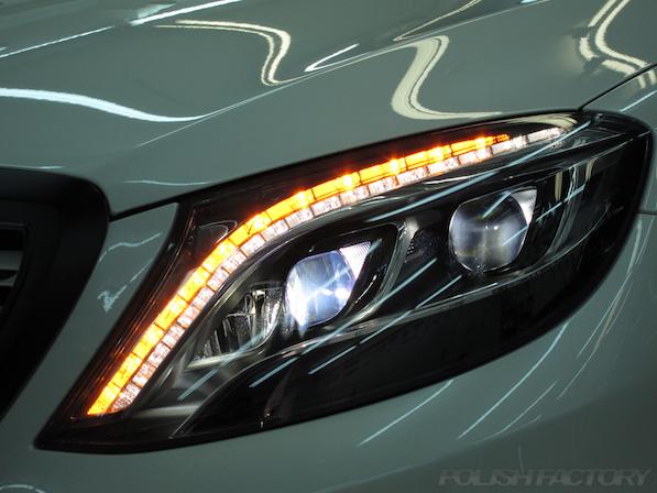 メルセデス・ベンツ S63 AMG 4マチックロングガラスコーティング施工、ヘッドライト画像