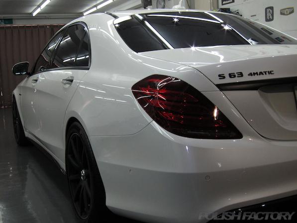 メルセデス・ベンツ S63 AMG 4マチックロングガラスコーティング施工、コーティング画像