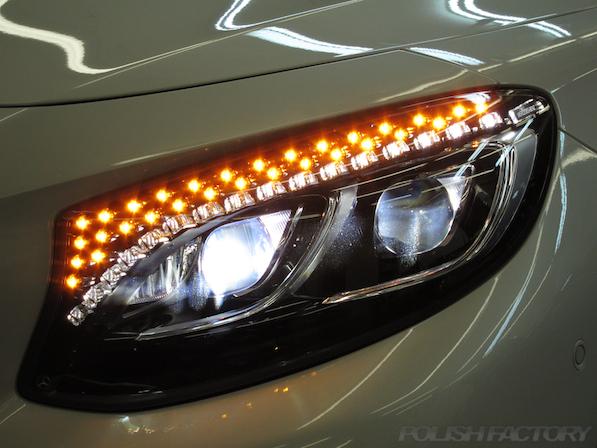 メルセデス・ベンツ S63 AMG 4マチッククーペにガラスコーティング施工、ヘッドライト画像