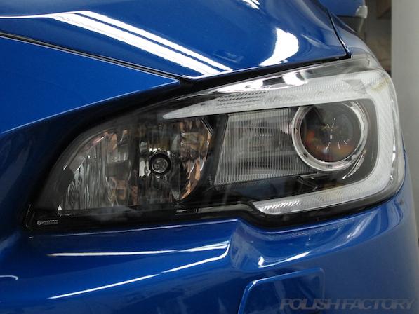 スバル WRX STI Type Sガラスコーティング施工ヘッドライト画像