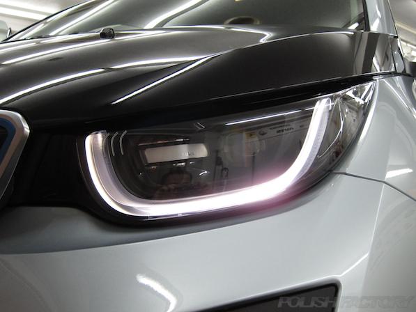BMW i3 レンジエクステンダー装着車ガラスコーティング施工ポジションランプ画像