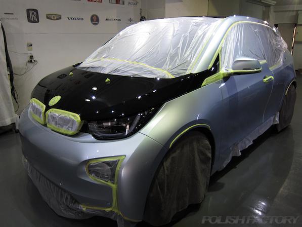 BMW i3 レンジエクステンダー装着車ガラスコーティング施工マスキング画像