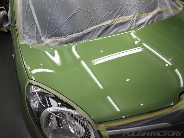 ルノー カングー ペイザージュの新車のガラスコーティング施工下地処理後画像