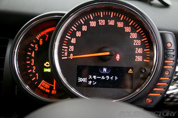 ミニ クーパーSの新車にガラスコーティング施工時のスピードメーター画像