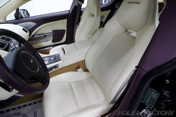 アストンマーチン ラピード Luxeにガラスコーティング、運転席シート画像