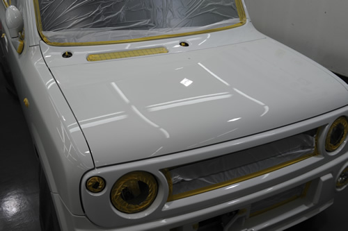 スズキ ラパンSS ガラスコーティング 磨き 画像