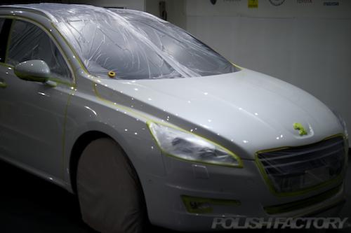 プジョー508SW磨きガラスコーティング画像