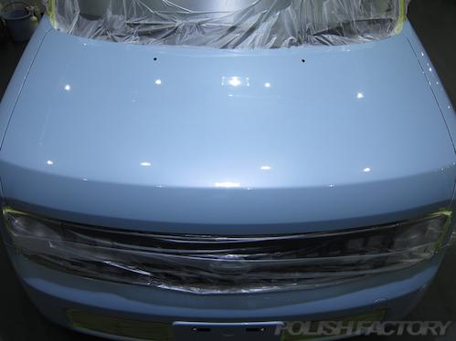 日産キューブ磨きガラスコーティング画像